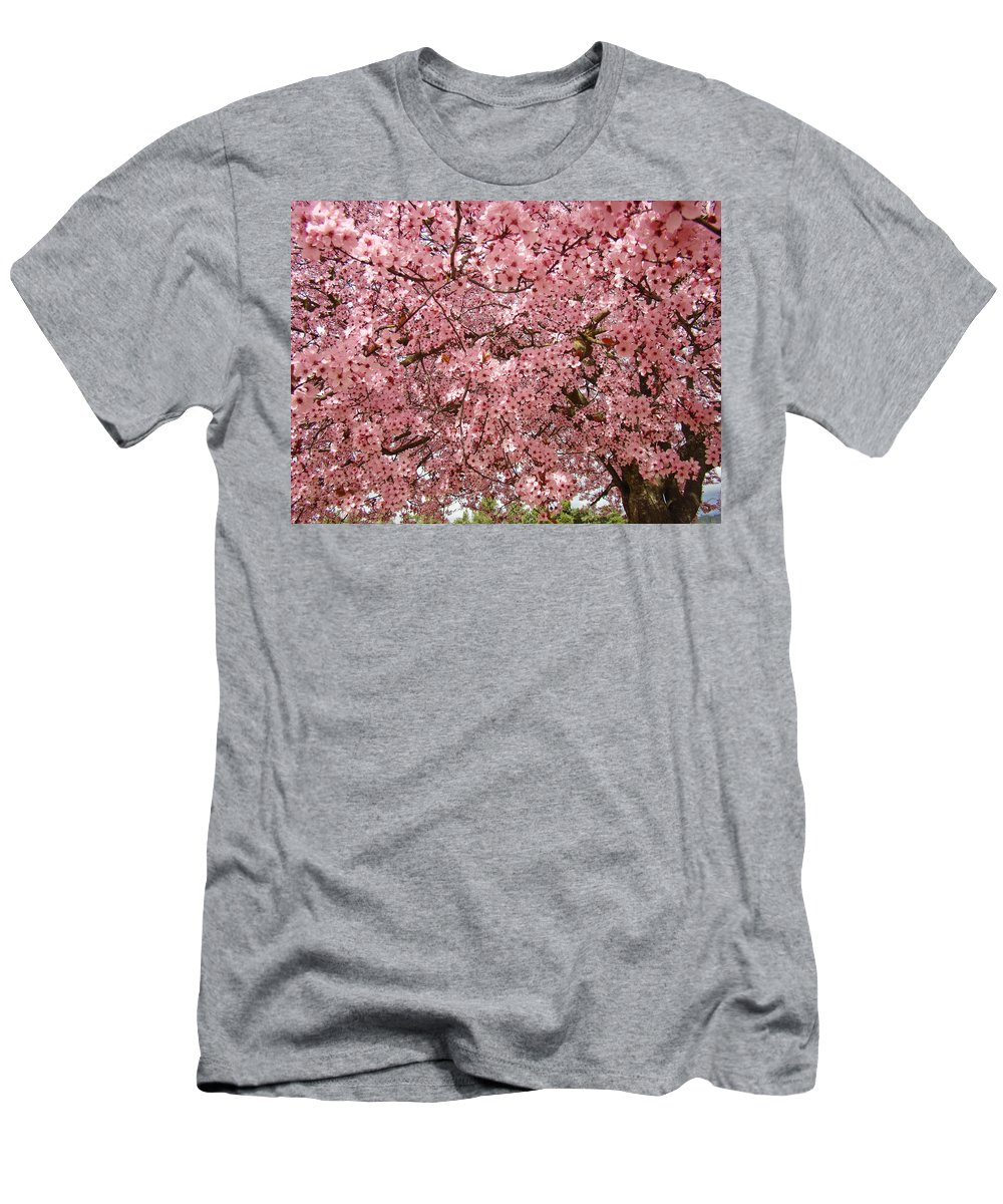 Tree Men's T-Shirt (Athletic Fit) featuring the photograph Tree Blossoms Pink Blossoms Art Prints Giclee Flower Landscape Artwork by Baslee Troutman