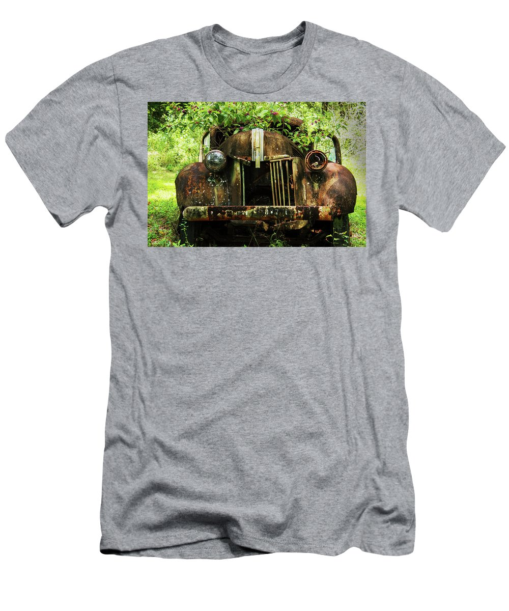 Ford Men's T-Shirt (Athletic Fit) featuring the photograph Tree In Truck by Amy Maros