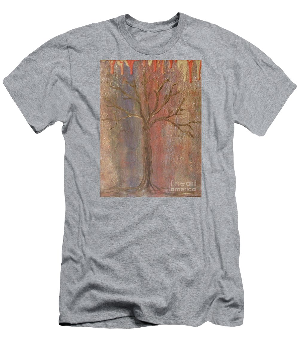 Metallic Men's T-Shirt (Athletic Fit) featuring the painting Tree - Metallic 1 by Jacqueline Athmann
