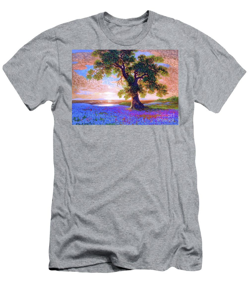 Sun Men's T-Shirt (Athletic Fit) featuring the painting Bluebonnets by Jane Small