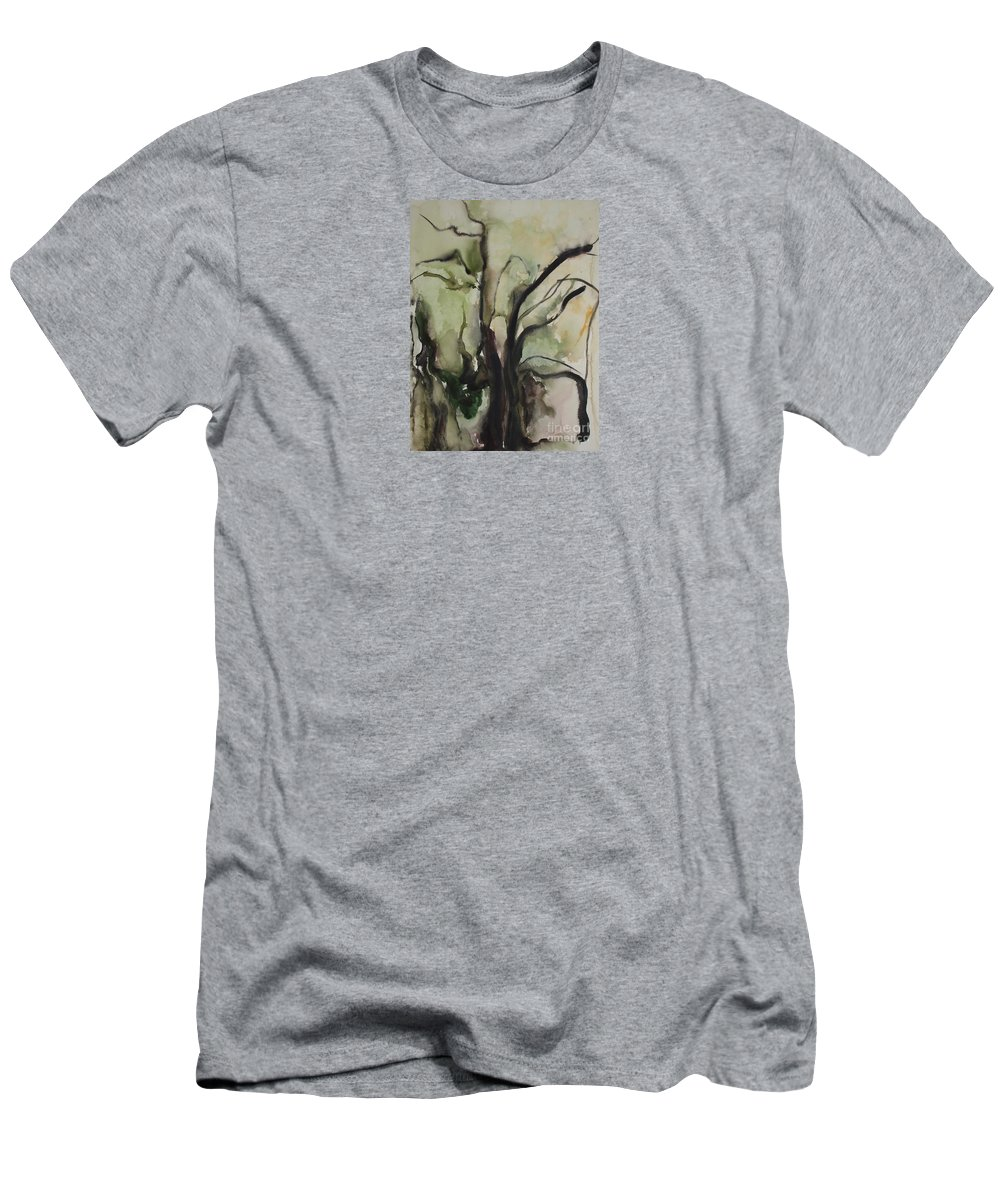 Tree Winter Abstract Original Painting Landscape Leila Atkinson Watercolor Wet On Wet Washes Trees Men's T-Shirt (Athletic Fit) featuring the painting Tree Series V by Leila Atkinson