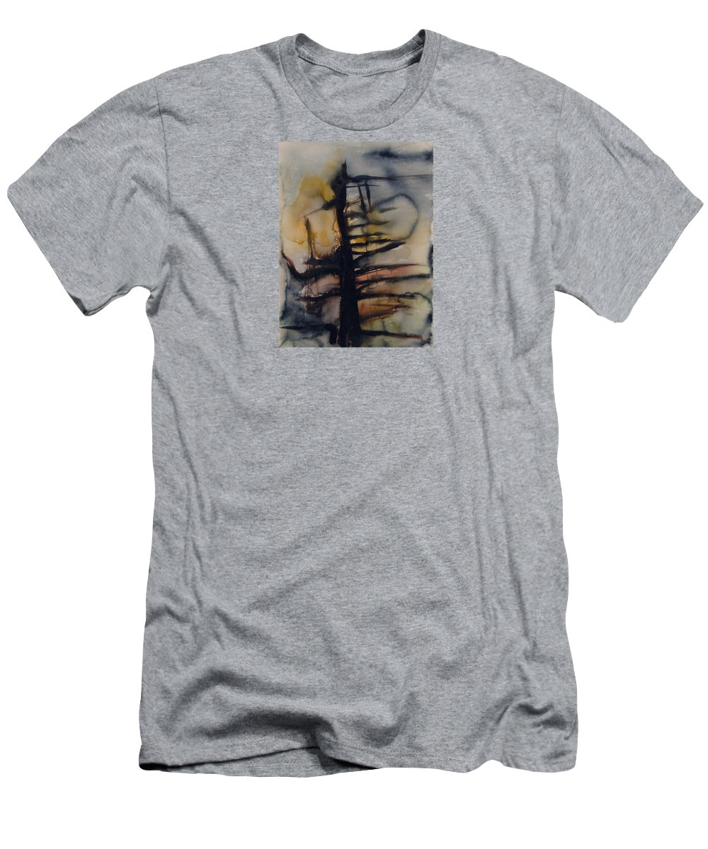 Tree Abstracted Original Watercolor Silhouette Open Branches Limbs Trees Men's T-Shirt (Athletic Fit) featuring the painting Tree Series Vi by Leila Atkinson
