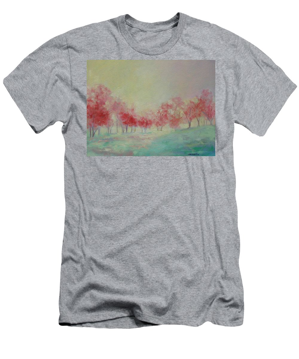 Impressionist Trees Men's T-Shirt (Athletic Fit) featuring the painting Treeline by Ginger Concepcion