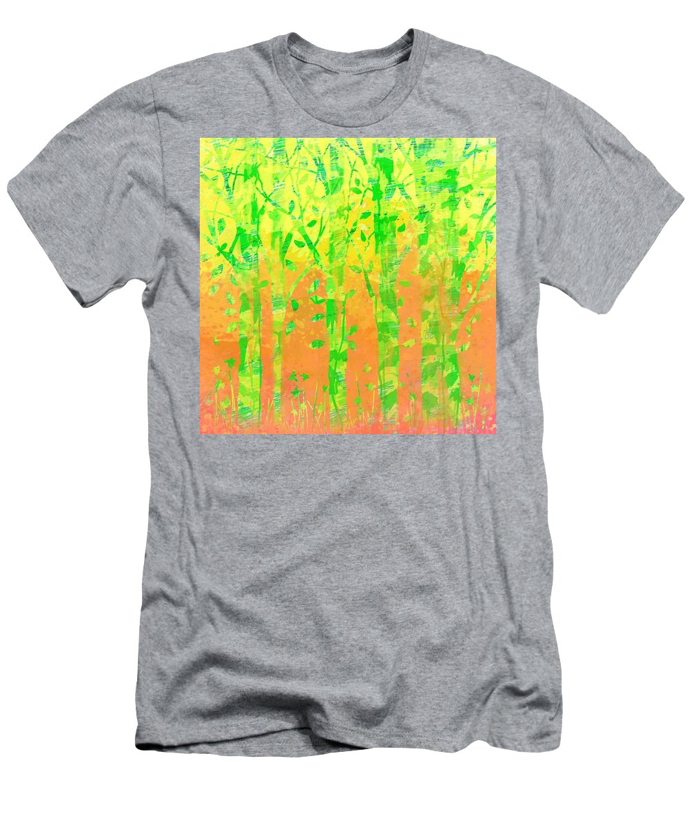 Abstract Men's T-Shirt (Athletic Fit) featuring the digital art Trees In The Grass by Rachel Christine Nowicki