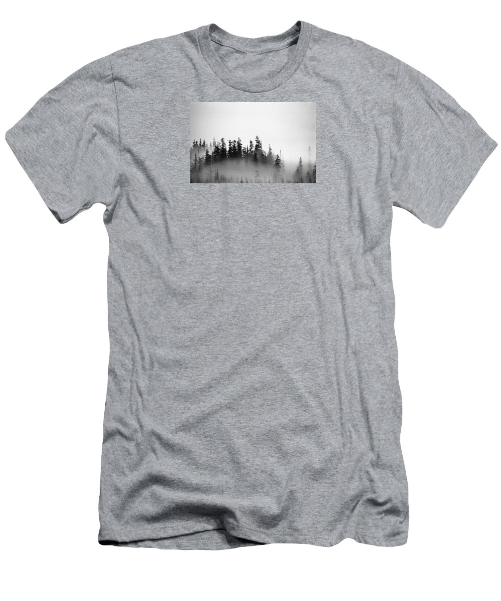 Black And White Men's T-Shirt (Athletic Fit) featuring the photograph Trees On A Hill by Lyle Crump
