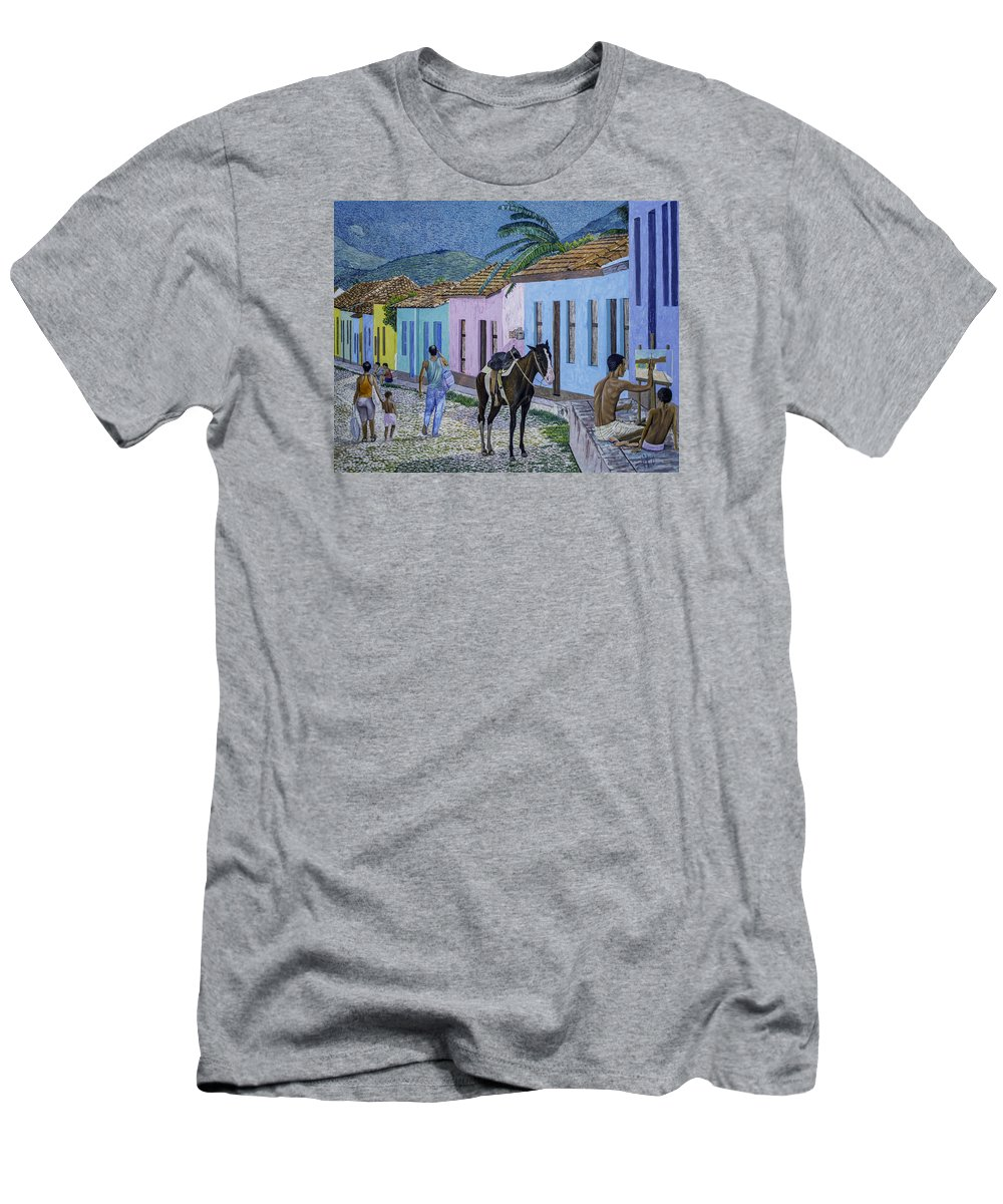 Trinidad Men's T-Shirt (Athletic Fit) featuring the painting Trinidad Lifestyle 28x22in Oil On Canvas by Manuel Lopez