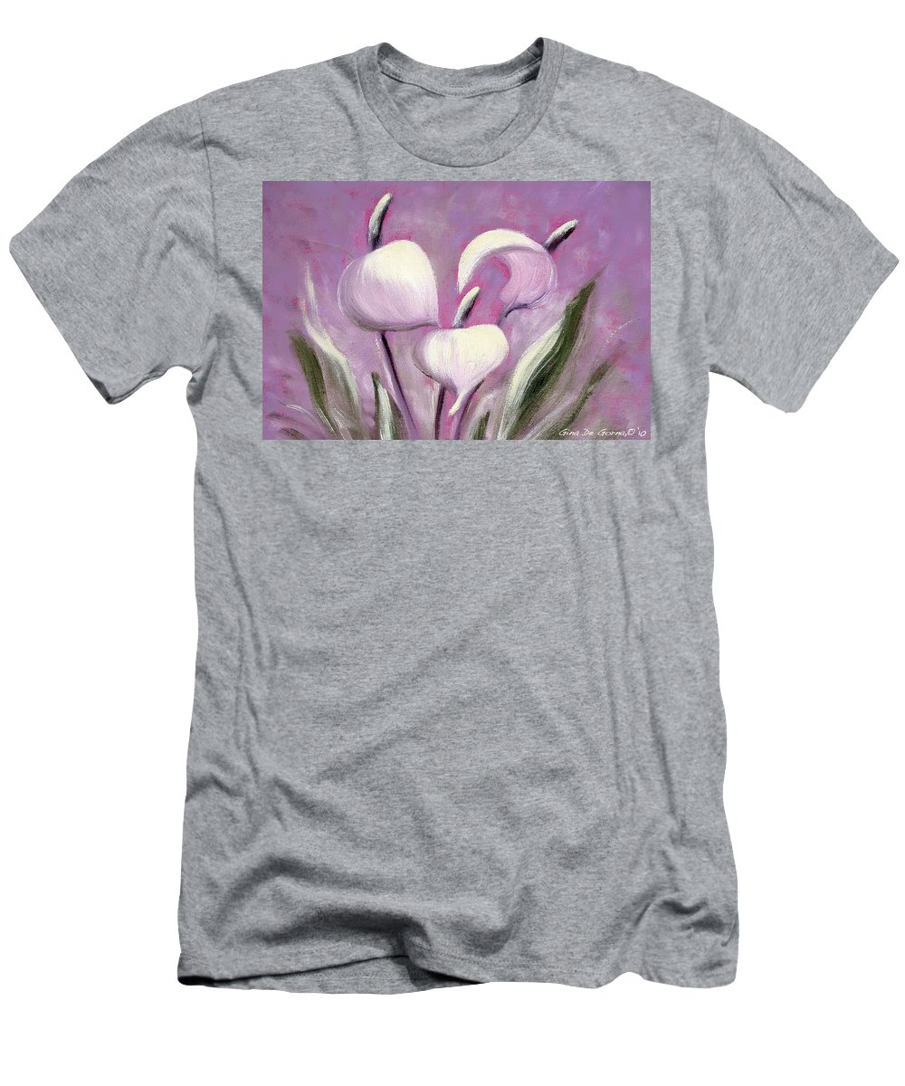Tropical Men's T-Shirt (Athletic Fit) featuring the painting Tropical Flowers In Pink Color by Gina De Gorna
