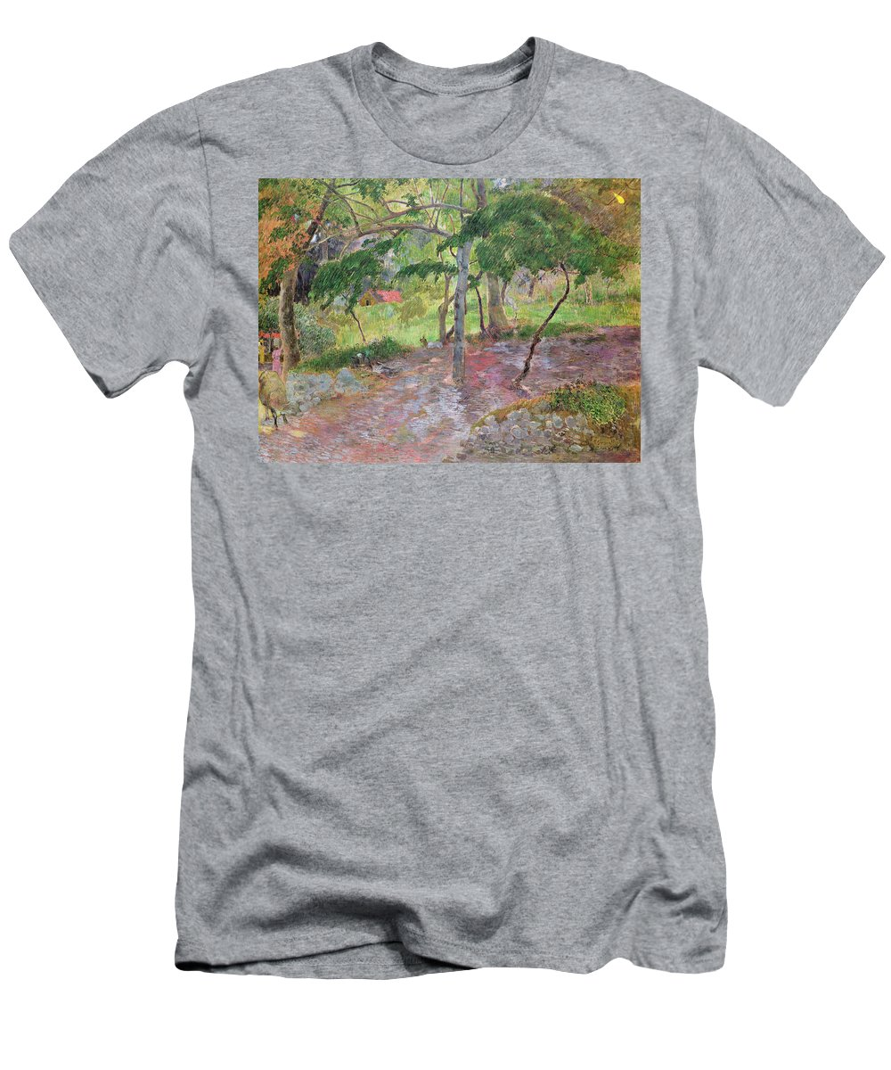 Tropical Landscape Men's T-Shirt (Athletic Fit) featuring the painting Tropical Landscape by Paul Gauguin