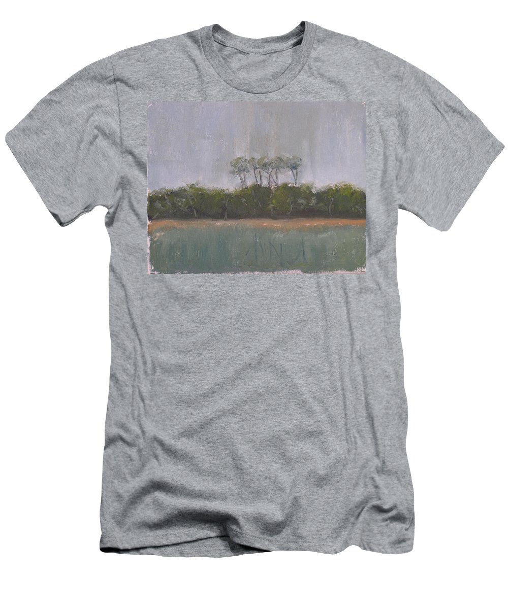 Landscape Beach Coast Tree Water Men's T-Shirt (Athletic Fit) featuring the painting Tropical Storm by Patricia Caldwell