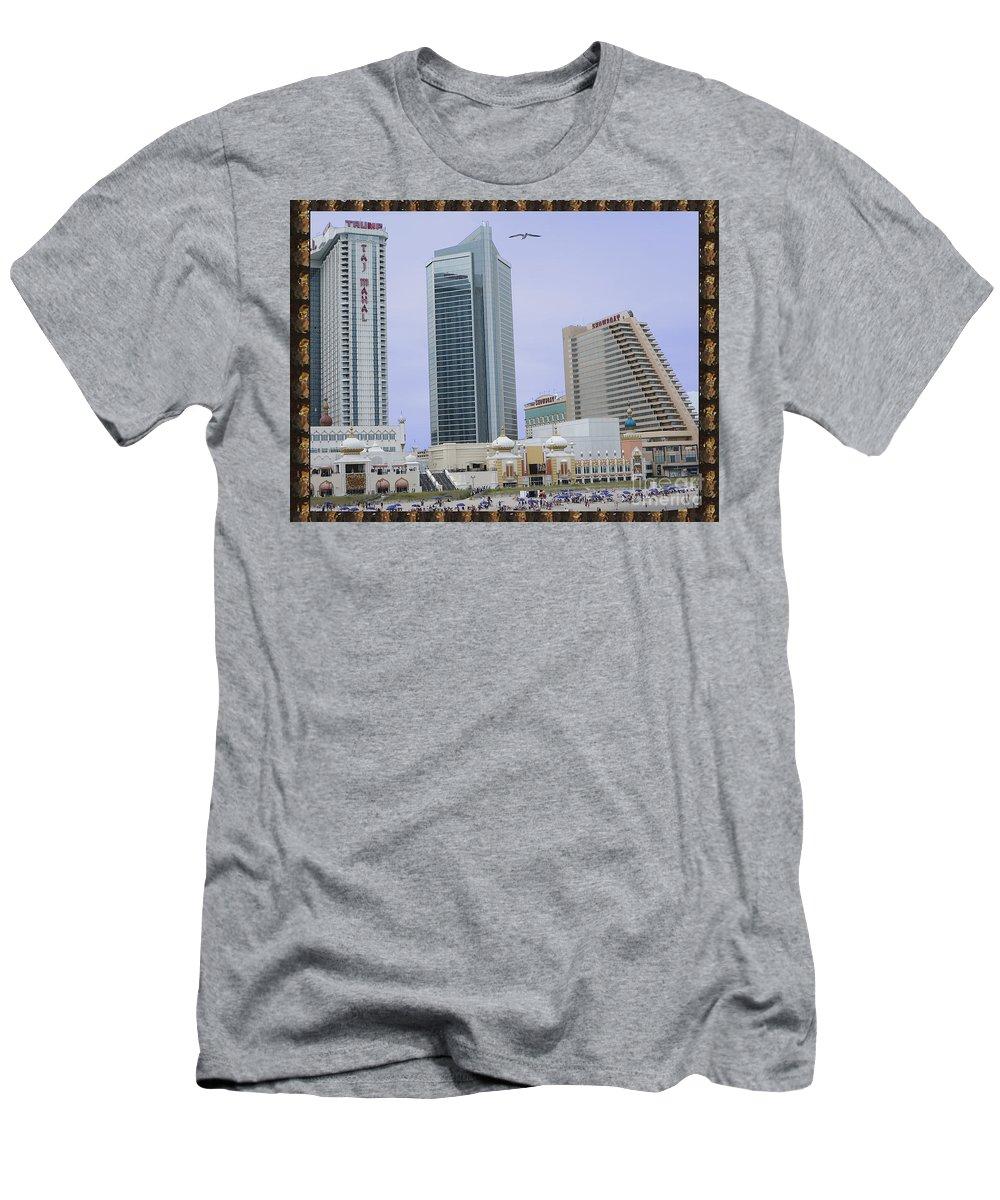 Tajmahal Men's T-Shirt (Athletic Fit) featuring the photograph Trump Palace Tajmahal Hotel Atalantic Beaches And Board Walk America Photography By Navinjoshi At by Navin Joshi