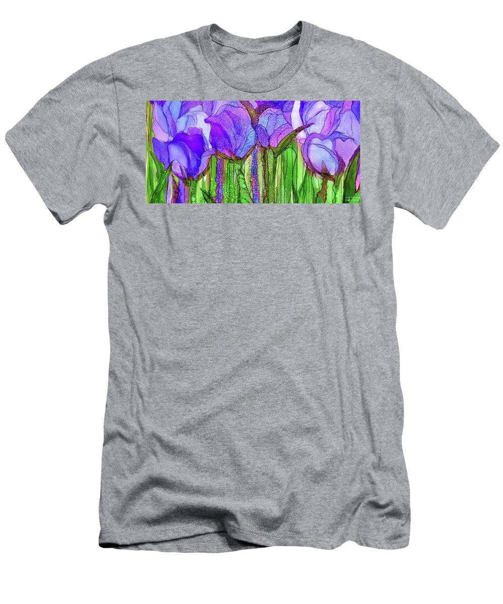 Carol Cavalaris Men's T-Shirt (Athletic Fit) featuring the mixed media Tulip Bloomies 4 - Purple by Carol Cavalaris