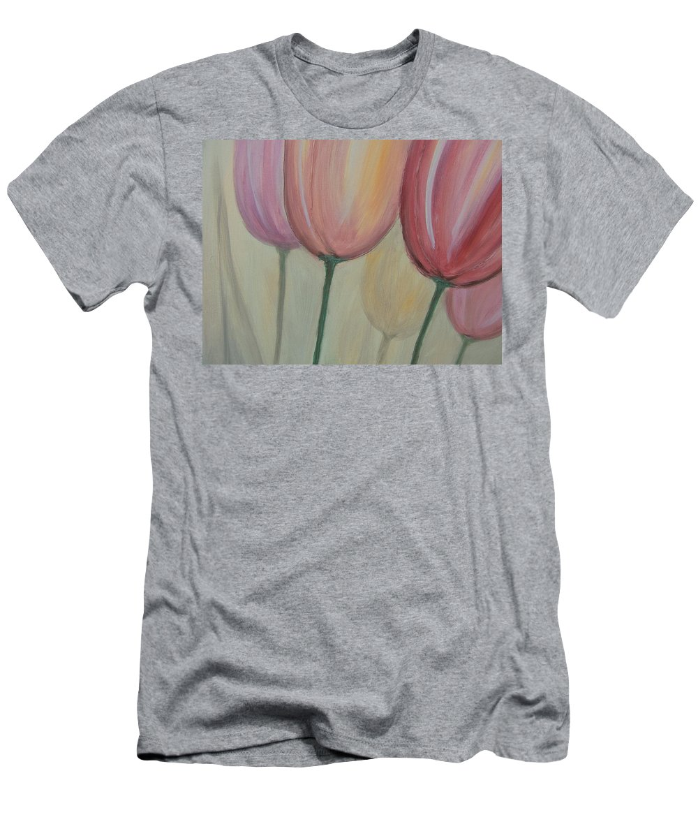 Tulips Men's T-Shirt (Athletic Fit) featuring the painting Tulip Series 1 by Anita Burgermeister