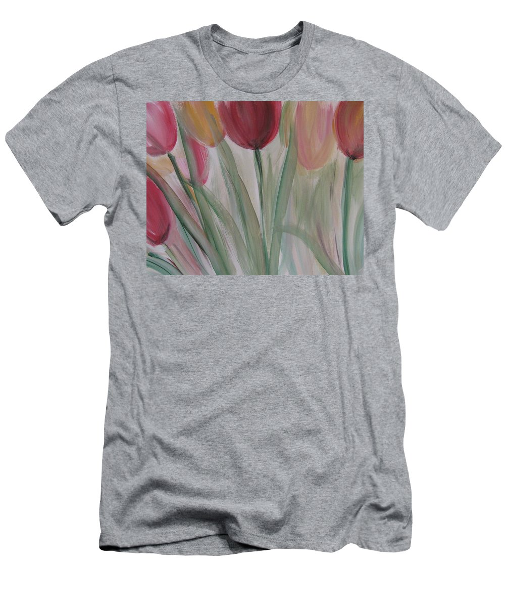 Tulips Men's T-Shirt (Athletic Fit) featuring the painting Tulip Series 3 by Anita Burgermeister