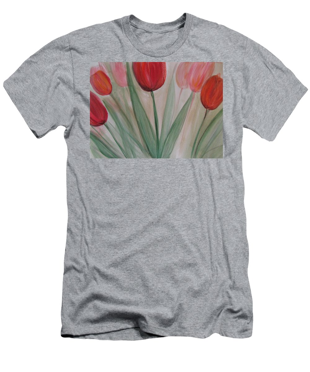 Tulips Men's T-Shirt (Athletic Fit) featuring the painting Tulip Series 4 by Anita Burgermeister