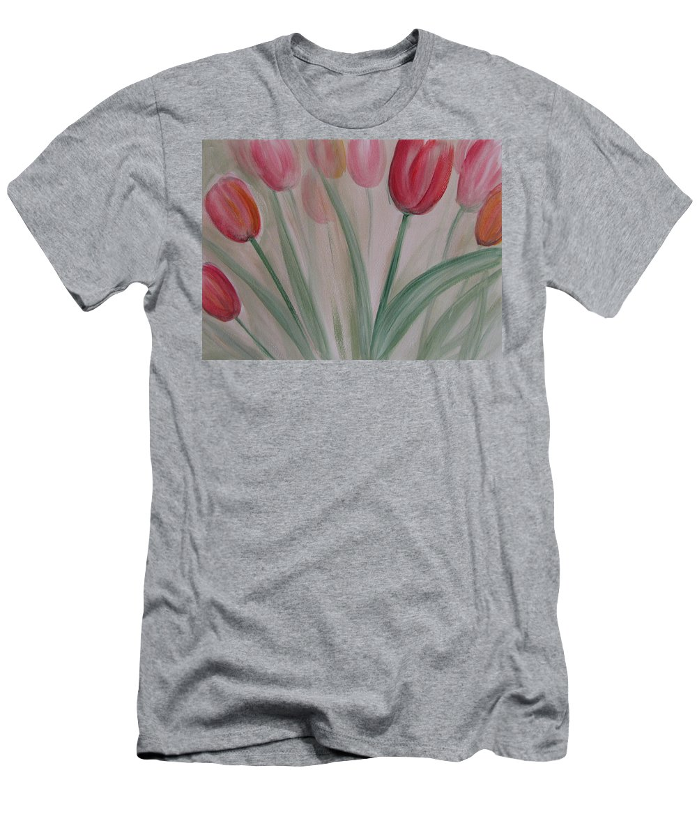 Tulips Men's T-Shirt (Athletic Fit) featuring the painting Tulip Series 5 by Anita Burgermeister