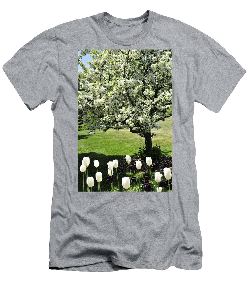 Flowering Tree Men's T-Shirt (Athletic Fit) featuring the photograph Tulips And Tees by David Arment