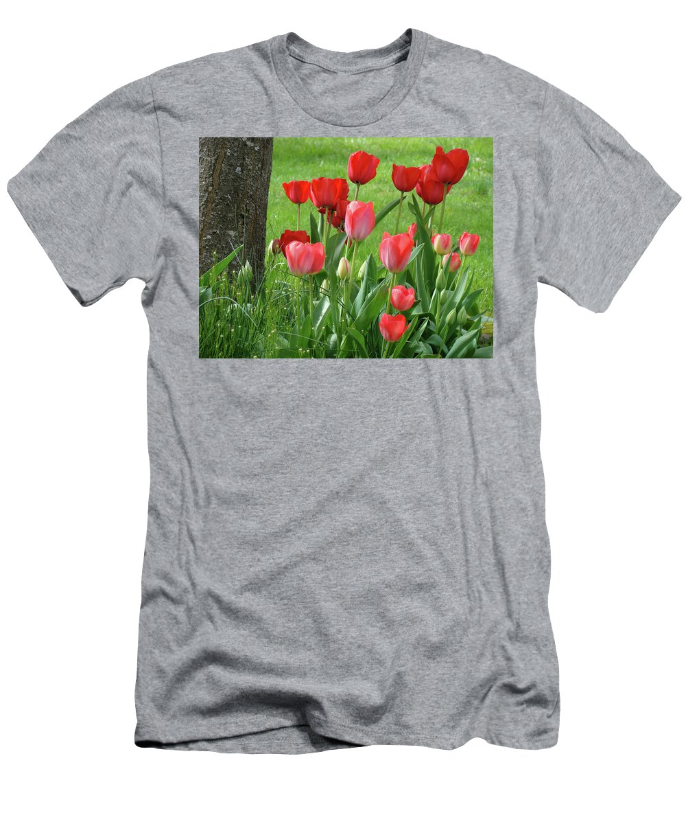 �tulips Artwork� Men's T-Shirt (Athletic Fit) featuring the photograph Tulips Flowers Art Prints Spring Tulip Flower Artwork Nature Art by Baslee Troutman