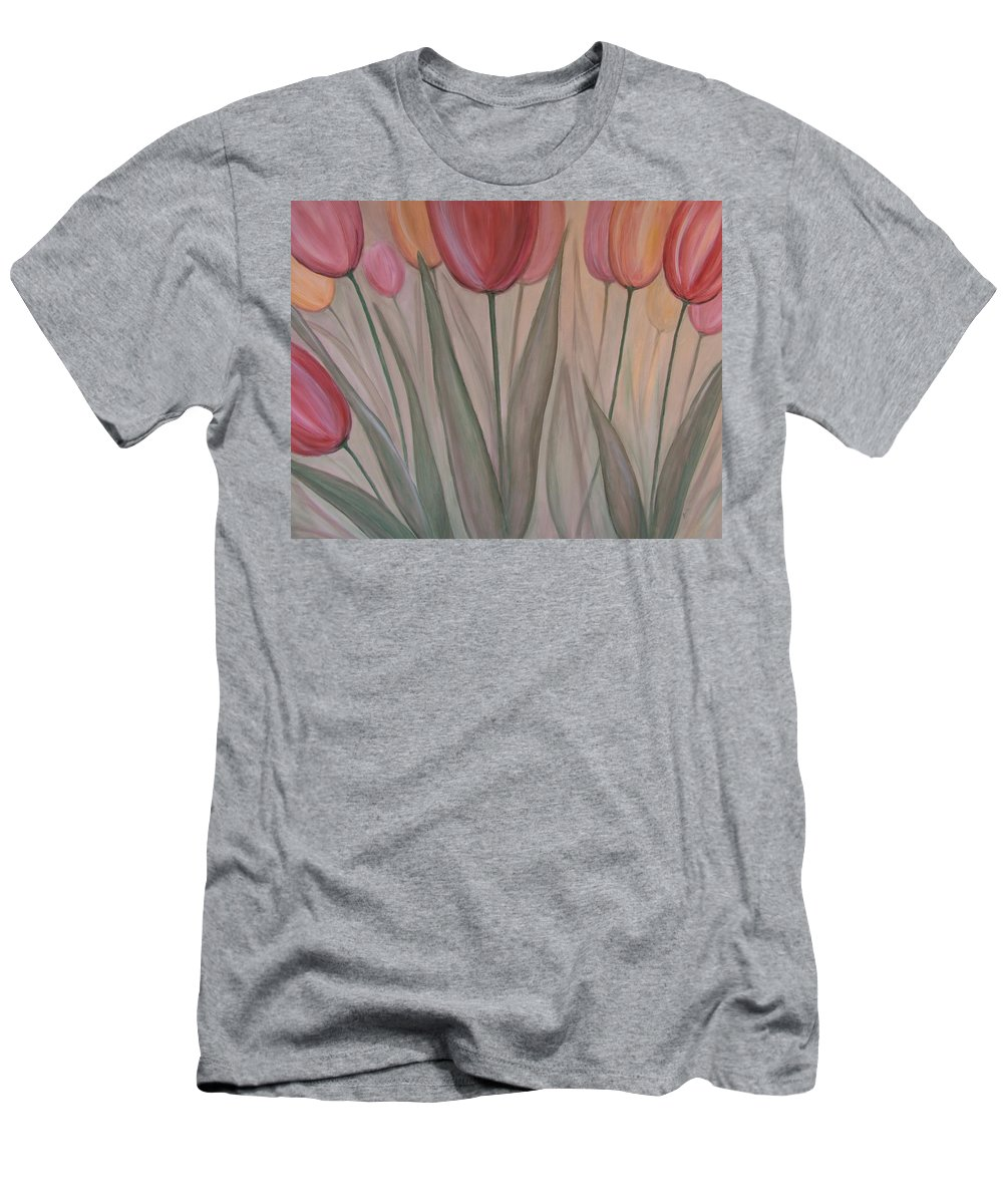 Tulips Men's T-Shirt (Athletic Fit) featuring the painting Tulips For Carol by Anita Burgermeister