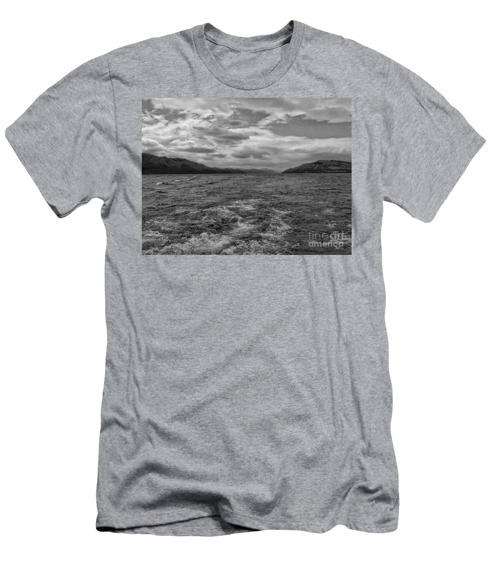 Loch Ness Men's T-Shirt (Athletic Fit) featuring the photograph Turbulent Loch Ness In Monochrome 2 by Joan-Violet Stretch
