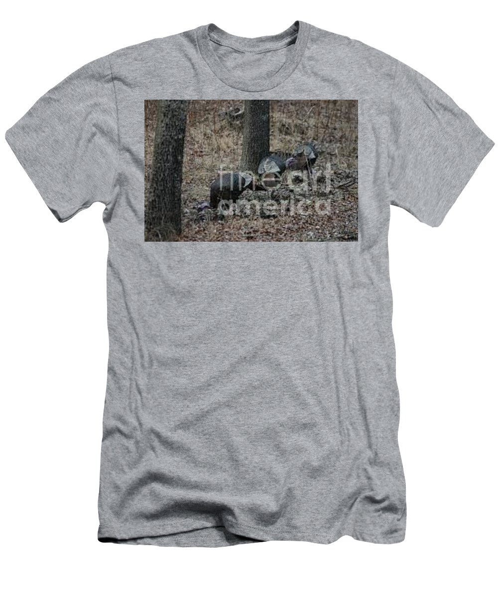 Wildlife Men's T-Shirt (Athletic Fit) featuring the photograph Turkey In The Straw by Lana Raffensperger