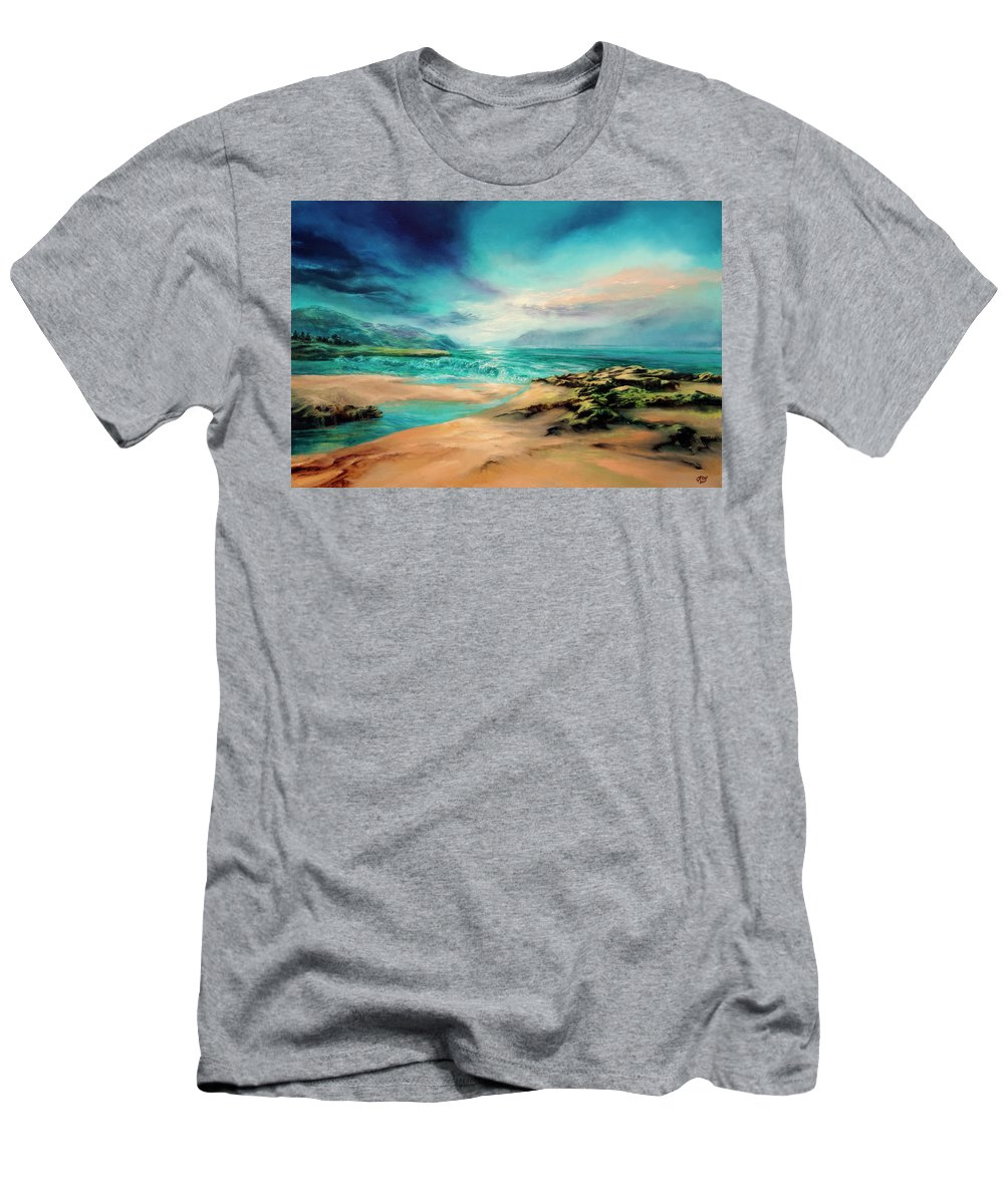 Seascape Men's T-Shirt (Athletic Fit) featuring the painting Turning Tide by C J Elsip