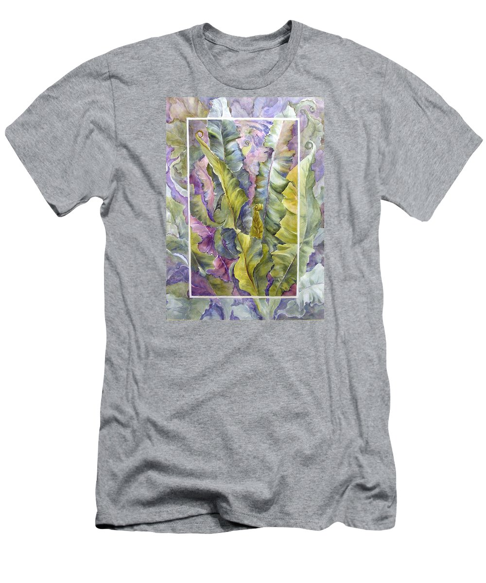 Ferns;floral; Men's T-Shirt (Athletic Fit) featuring the painting Turns Of Ferns by Lois Mountz