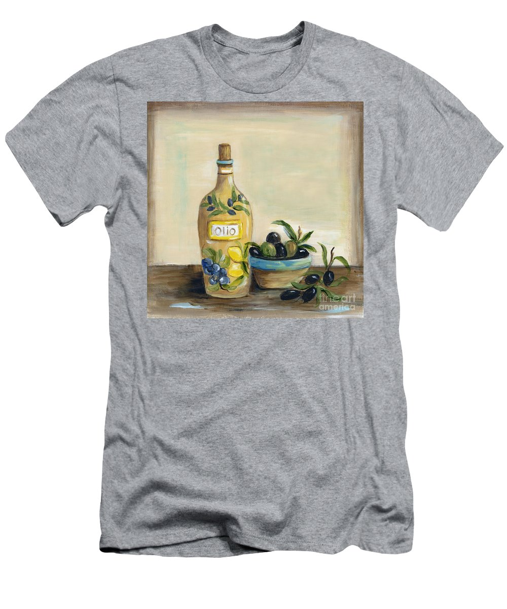Olives Men's T-Shirt (Athletic Fit) featuring the painting Tuscan Olive Oil by Marilyn Dunlap