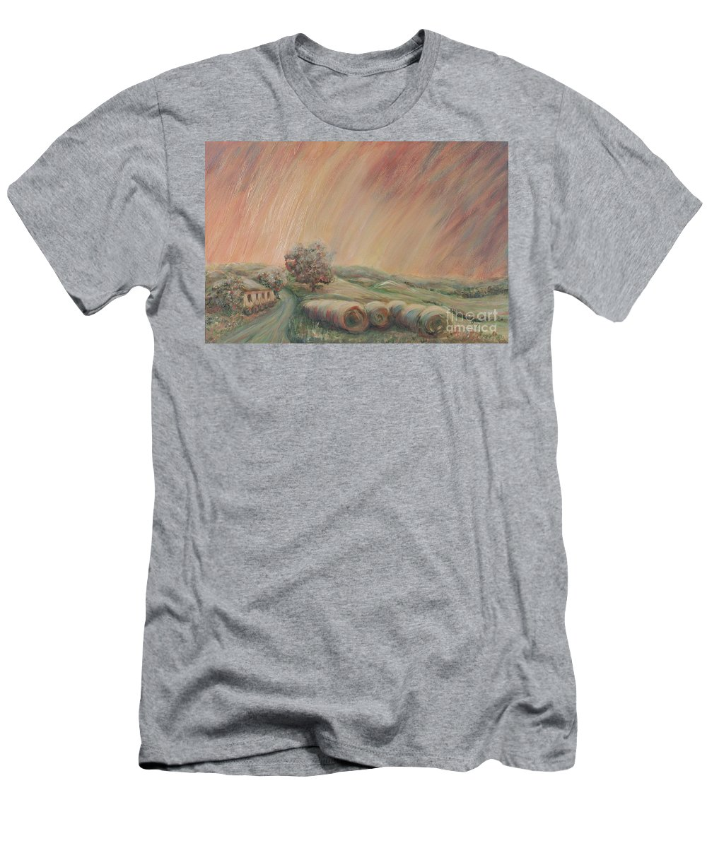 Landscape Men's T-Shirt (Athletic Fit) featuring the painting Tuscany Hayfields by Nadine Rippelmeyer