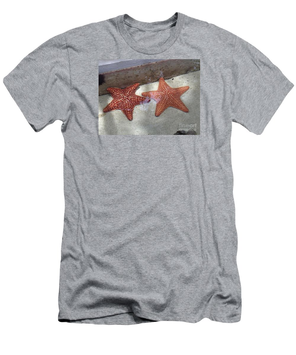 Carribean Star Fish Men's T-Shirt (Athletic Fit) featuring the photograph Twin Stars by Gina Sullivan