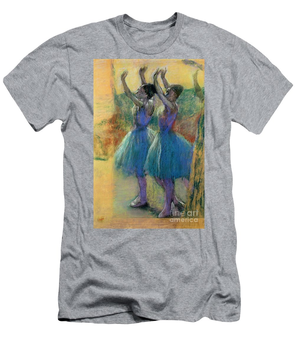Two Blue Dancers (pastel On Paper) By Edgar Degas (1834-1917) Men's T-Shirt (Athletic Fit) featuring the pastel Two Blue Dancers by Edgar Degas