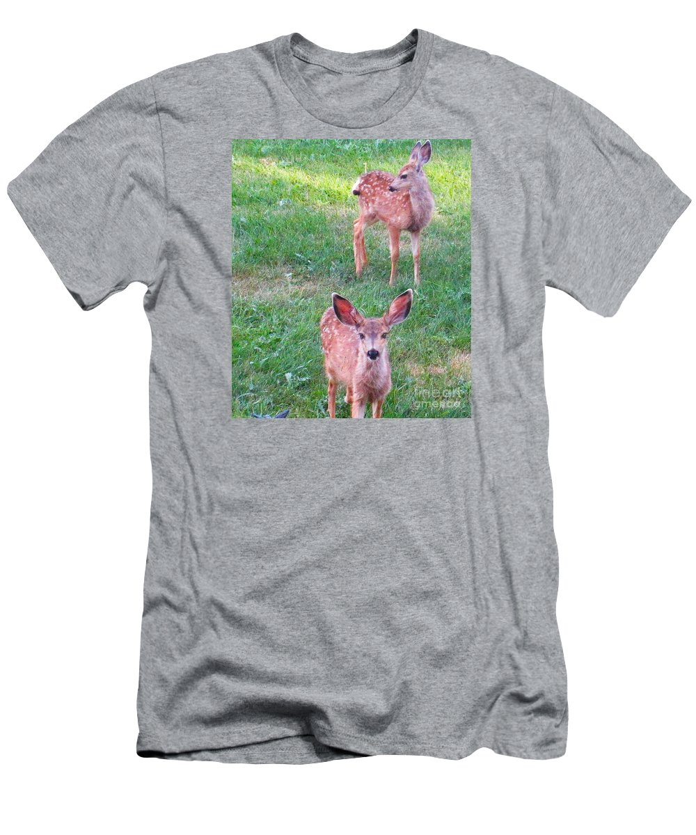 Deer Men's T-Shirt (Athletic Fit) featuring the photograph Two Fawn by Jeff Birr