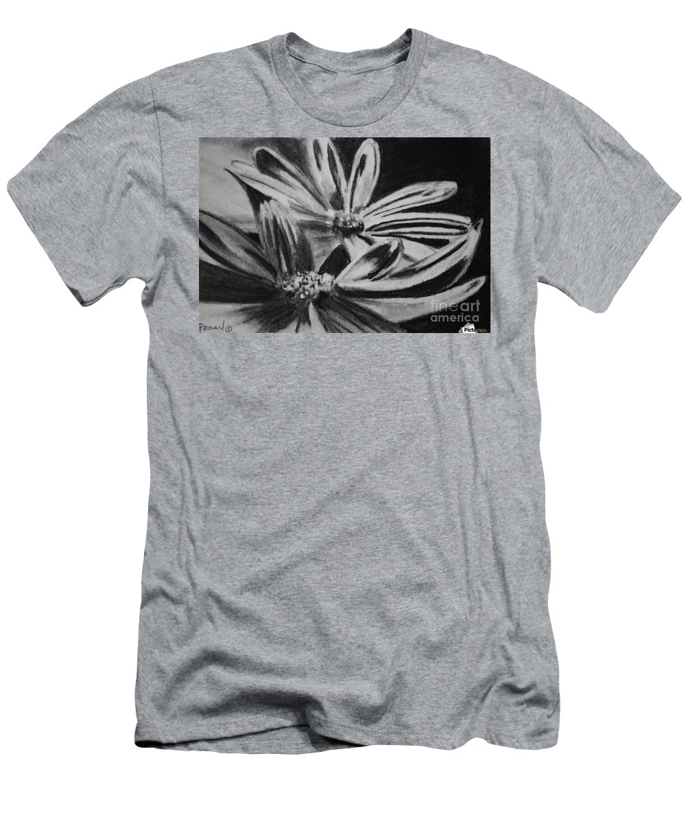 Flowers T-Shirt featuring the drawing Two Flowers by Regan J Smith