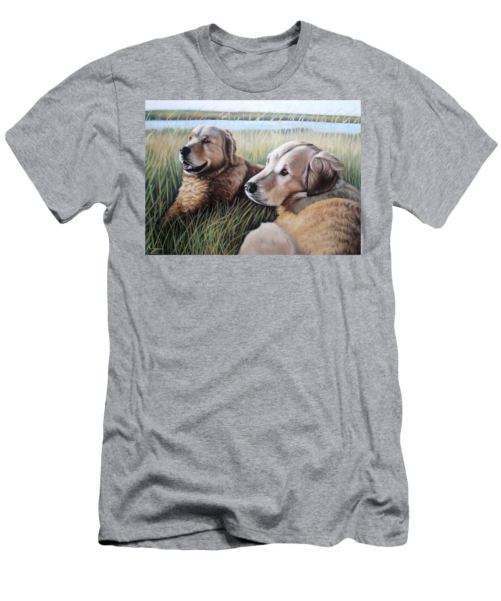 Dogs Men's T-Shirt (Athletic Fit) featuring the painting Two Golden Retriever by Nicole Zeug