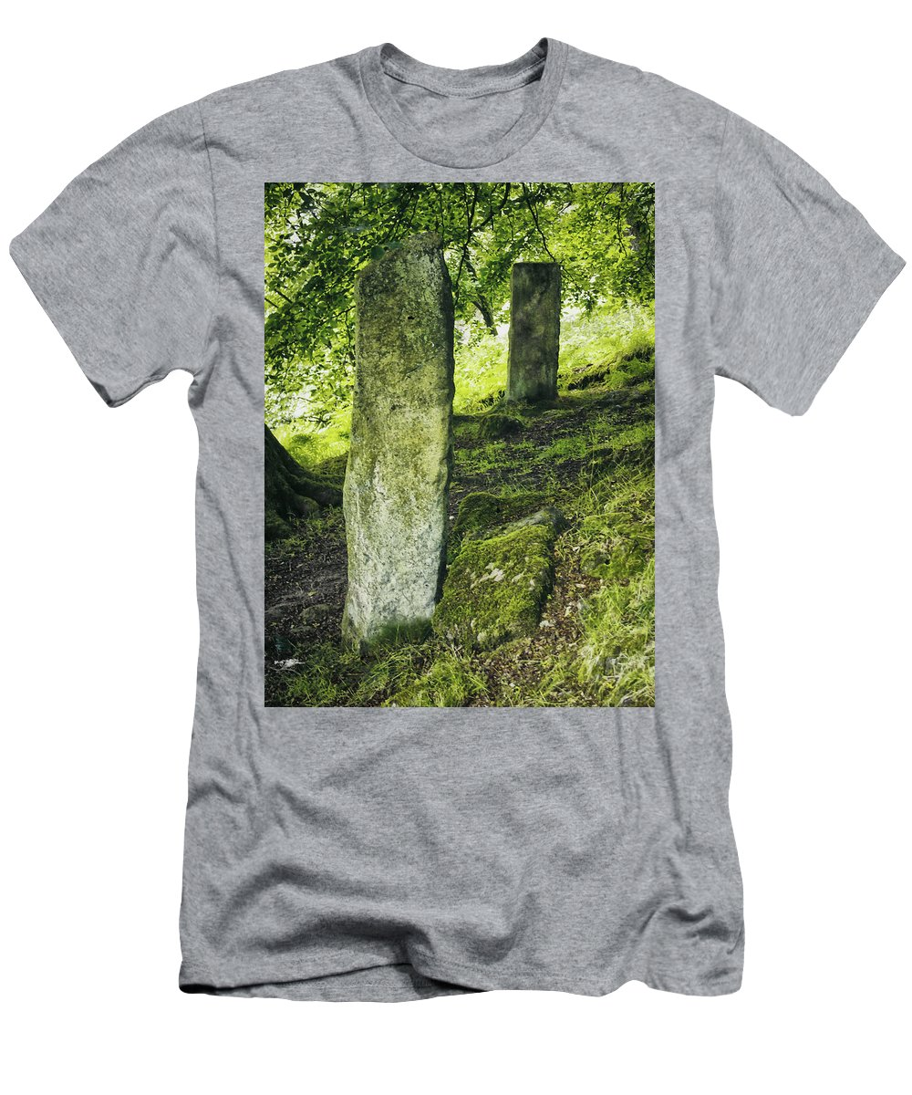 Stones Men's T-Shirt (Athletic Fit) featuring the photograph Two Standing Stones by Philip Openshaw
