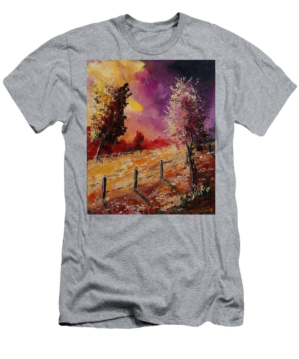 Tree Men's T-Shirt (Athletic Fit) featuring the painting Two Trees Waiting For The Storm by Pol Ledent