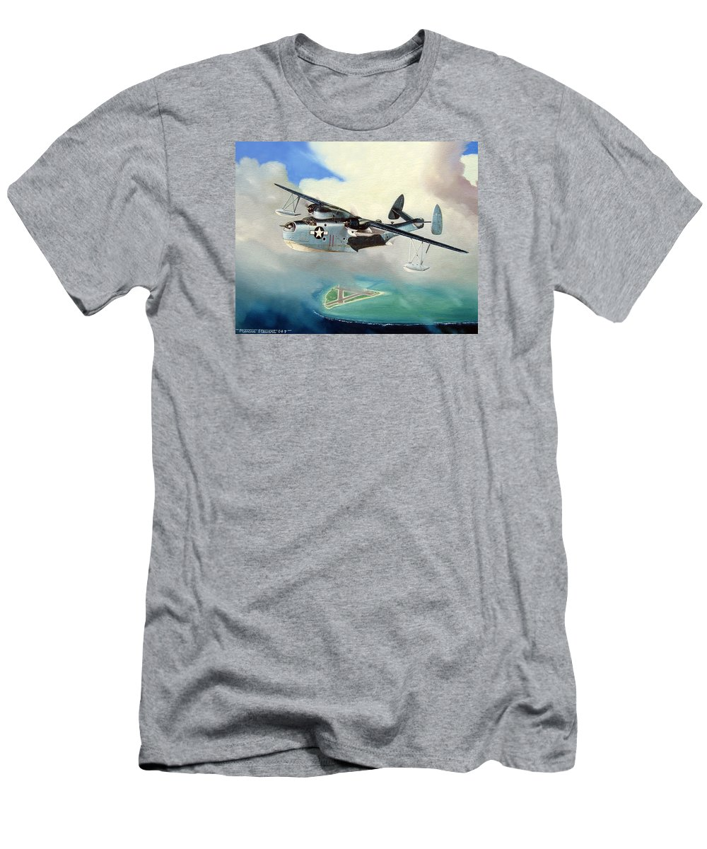 Military Men's T-Shirt (Athletic Fit) featuring the painting Uncle Bubba's Flying Boat by Marc Stewart