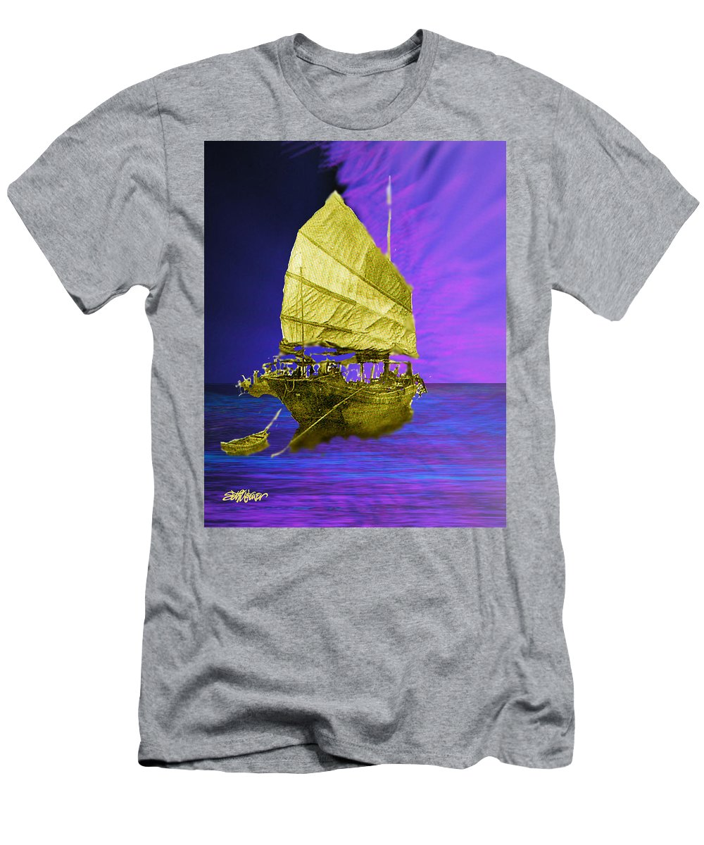 Nautical Men's T-Shirt (Athletic Fit) featuring the digital art Under Golden Sails by Seth Weaver