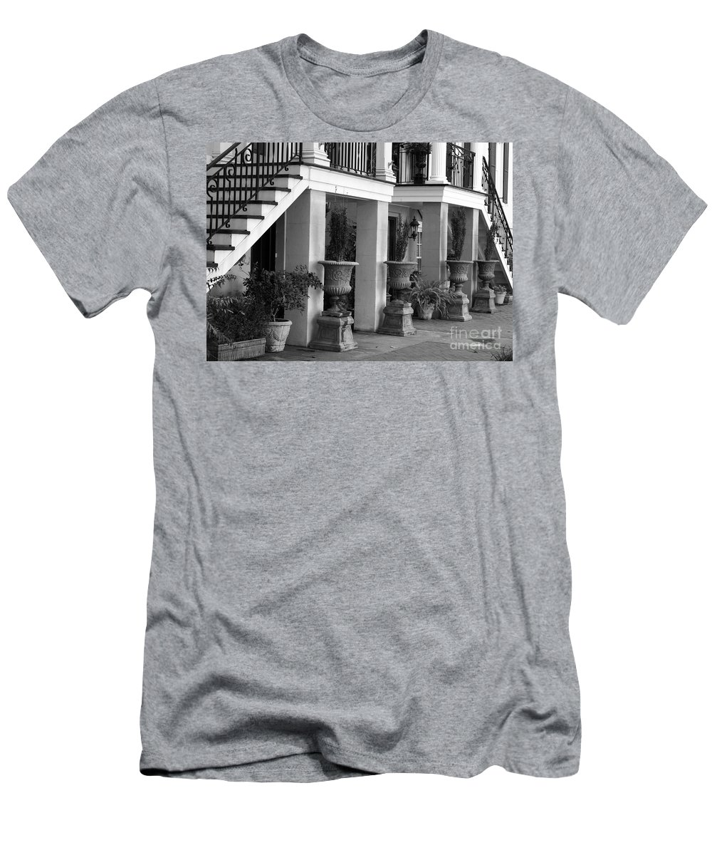 Savannah Men's T-Shirt (Athletic Fit) featuring the photograph Under The Steps In Savannah - Black And White by Carol Groenen