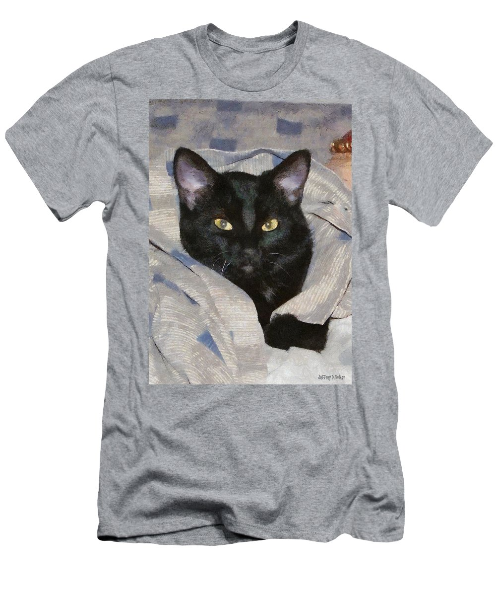 Cat Men's T-Shirt (Athletic Fit) featuring the painting Undercover Kitten by Jeffrey Kolker