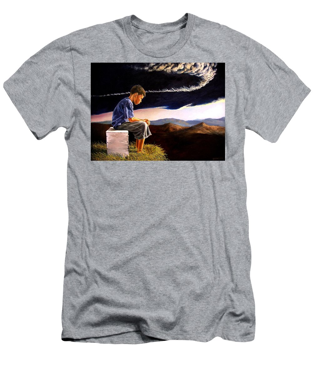 Mountain Men's T-Shirt (Athletic Fit) featuring the painting Unscarred Mountain by Christopher Shellhammer