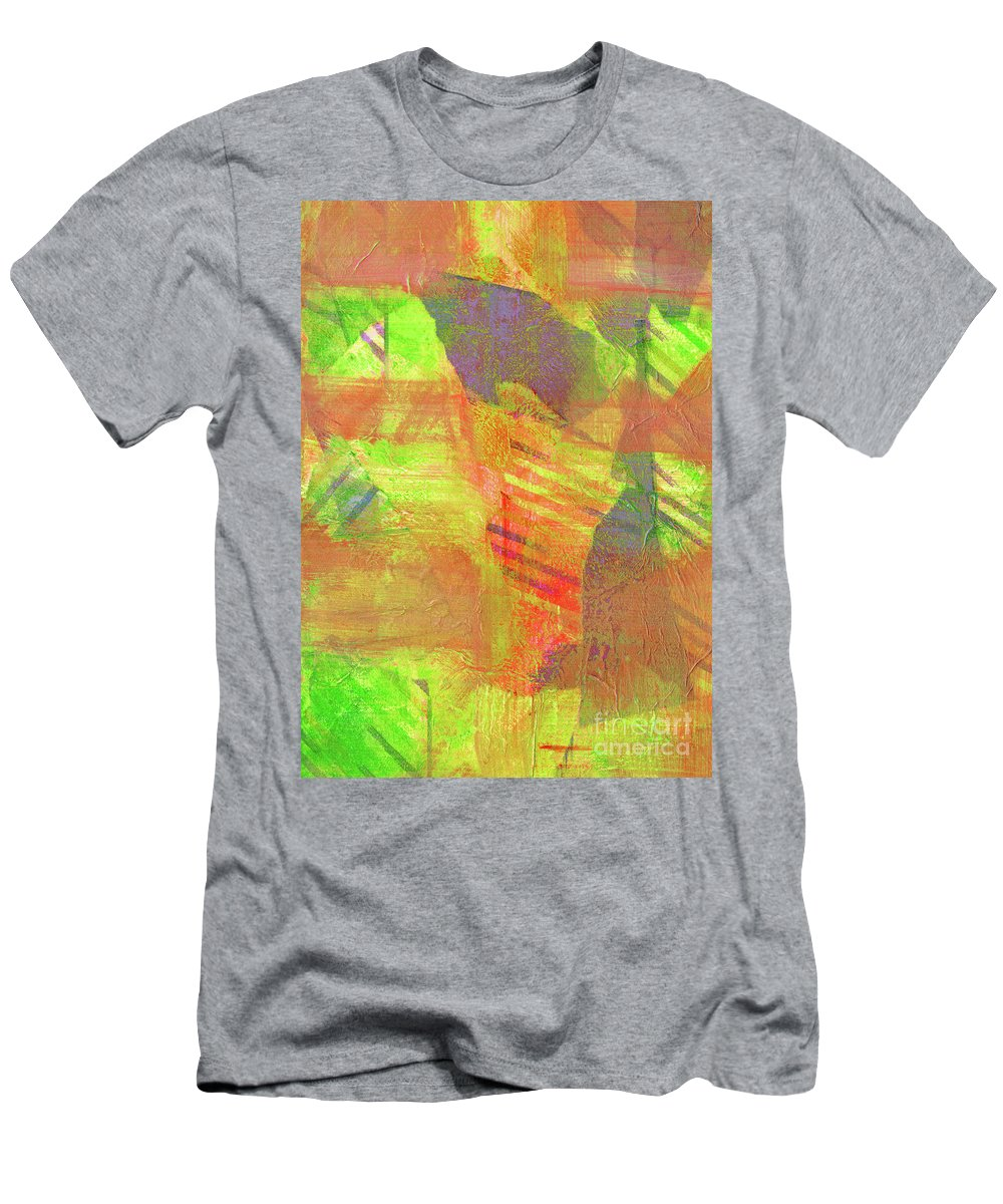 Hao Aiken Men's T-Shirt (Athletic Fit) featuring the painting Untitled #13 Abstract Multicolor by Hao Aiken