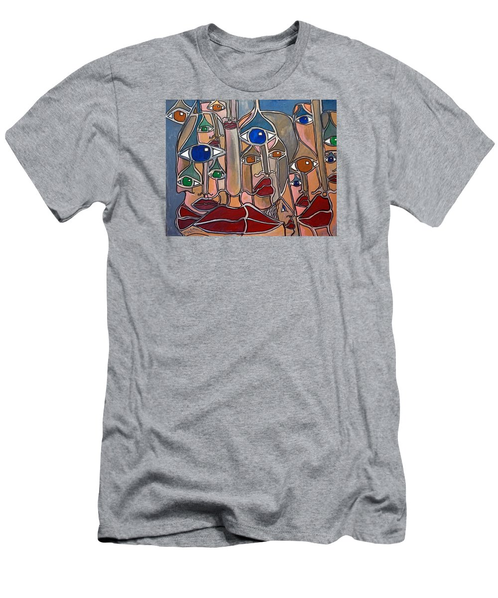 Lips Men's T-Shirt (Athletic Fit) featuring the painting Untitled 83 by Rick Litteral
