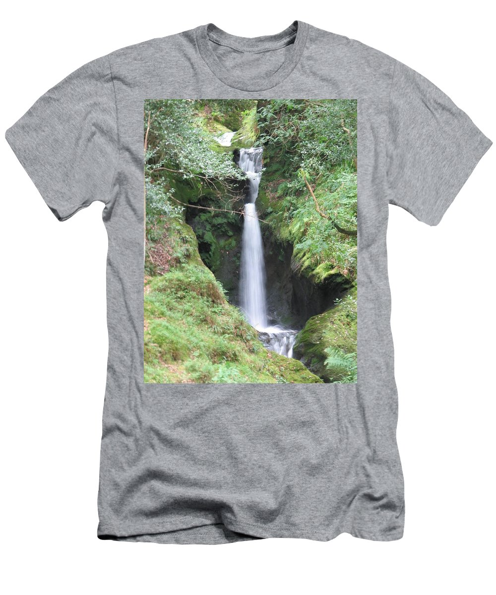 Glendalough Men's T-Shirt (Athletic Fit) featuring the photograph Upper Falls by Kelly Mezzapelle