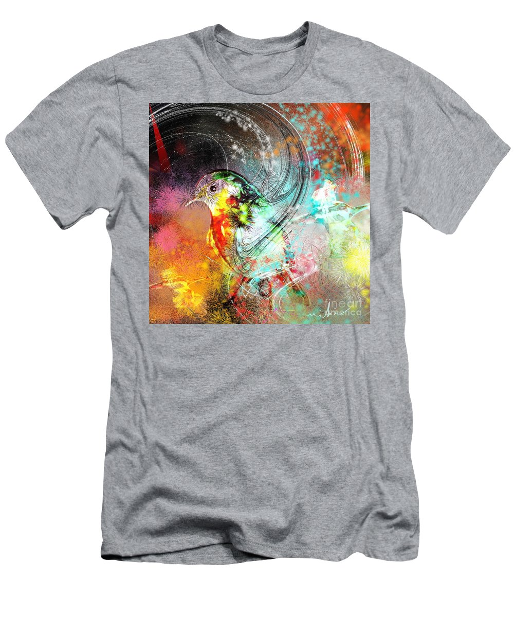 Bird Men's T-Shirt (Athletic Fit) featuring the painting Vagabond by Miki De Goodaboom