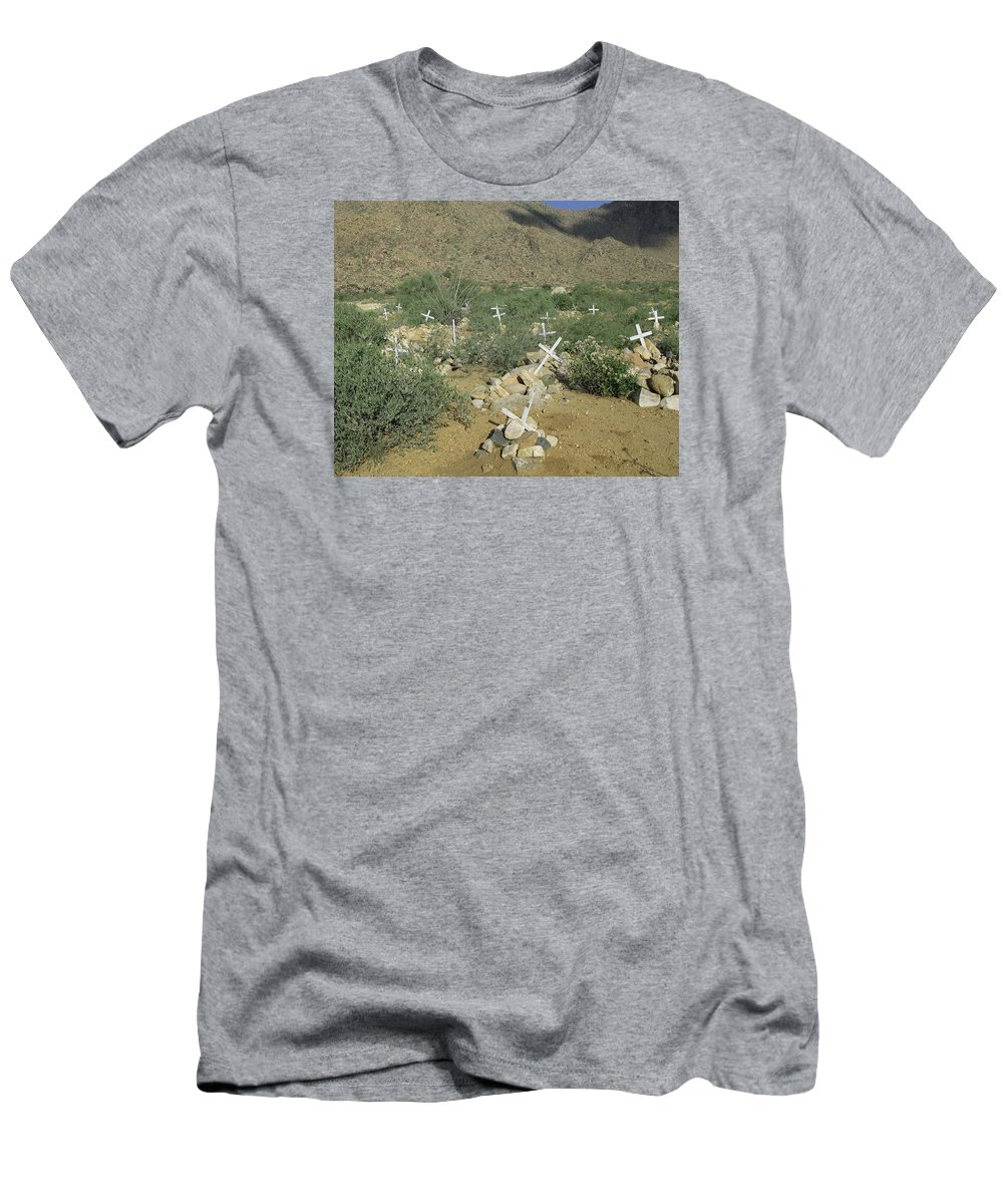 Grave Men's T-Shirt (Athletic Fit) featuring the photograph Valley Of Dead Men's Bones by Rachel Knight