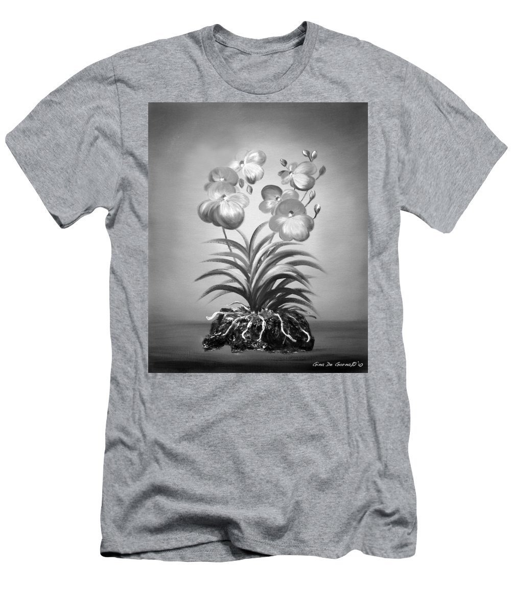 Black And White Men's T-Shirt (Athletic Fit) featuring the painting Vanda Orchids In Black And White by Gina De Gorna