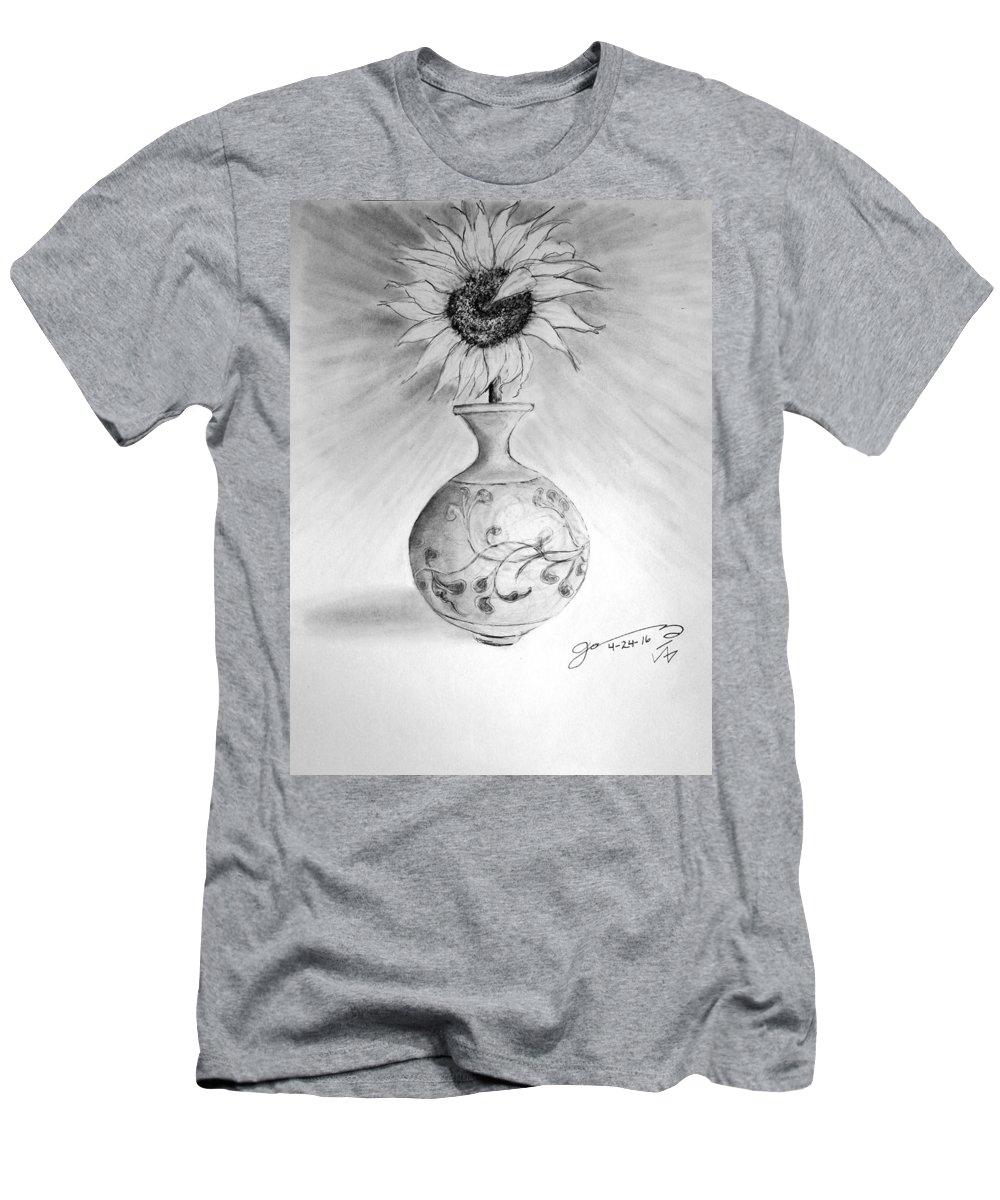 Vase With One Sunflower Men's T-Shirt (Athletic Fit) featuring the drawing Vase With One Sunflower by Jose A Gonzalez Jr