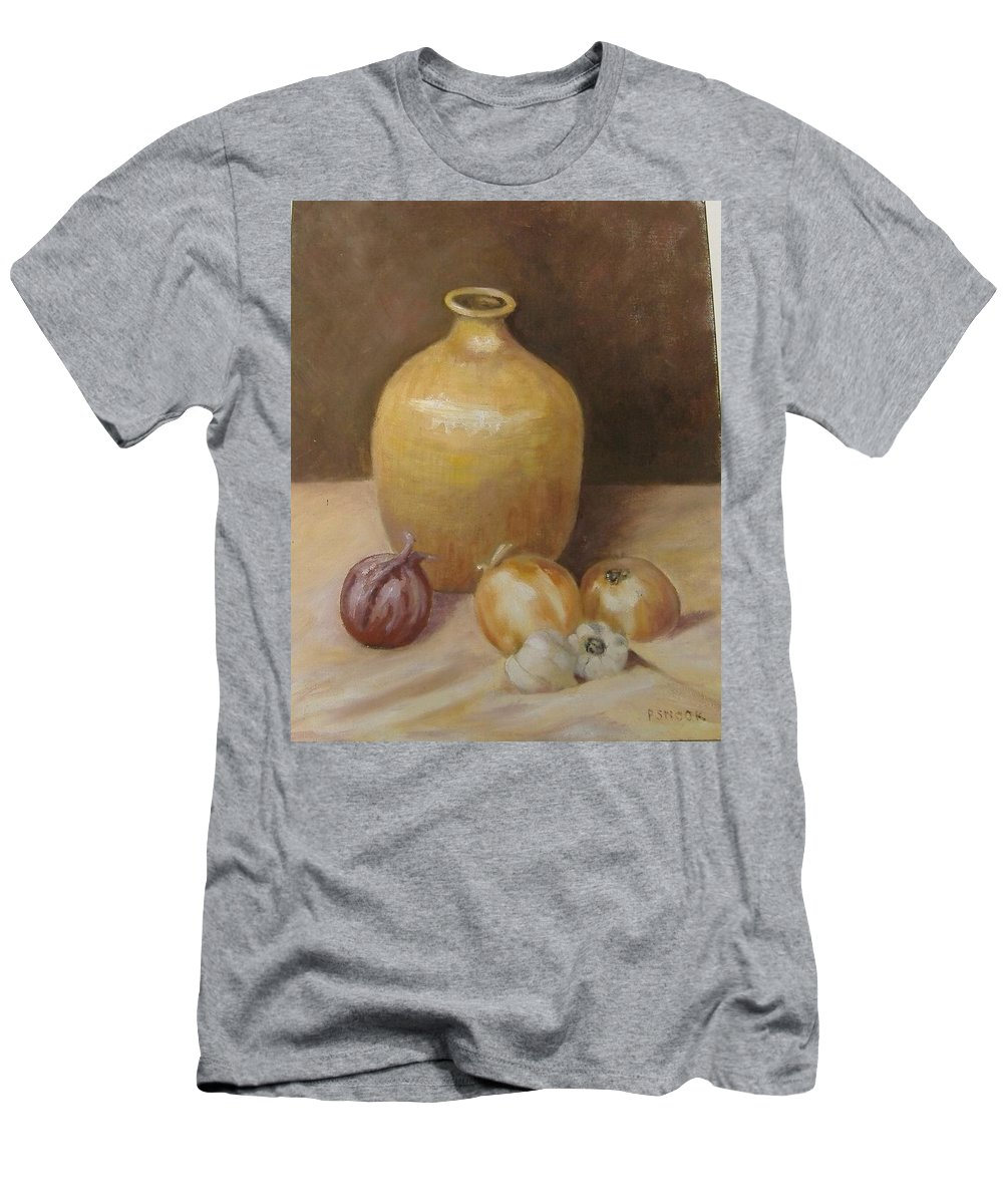 Still Life Men's T-Shirt (Athletic Fit) featuring the painting Vase With Onion by Pat Snook