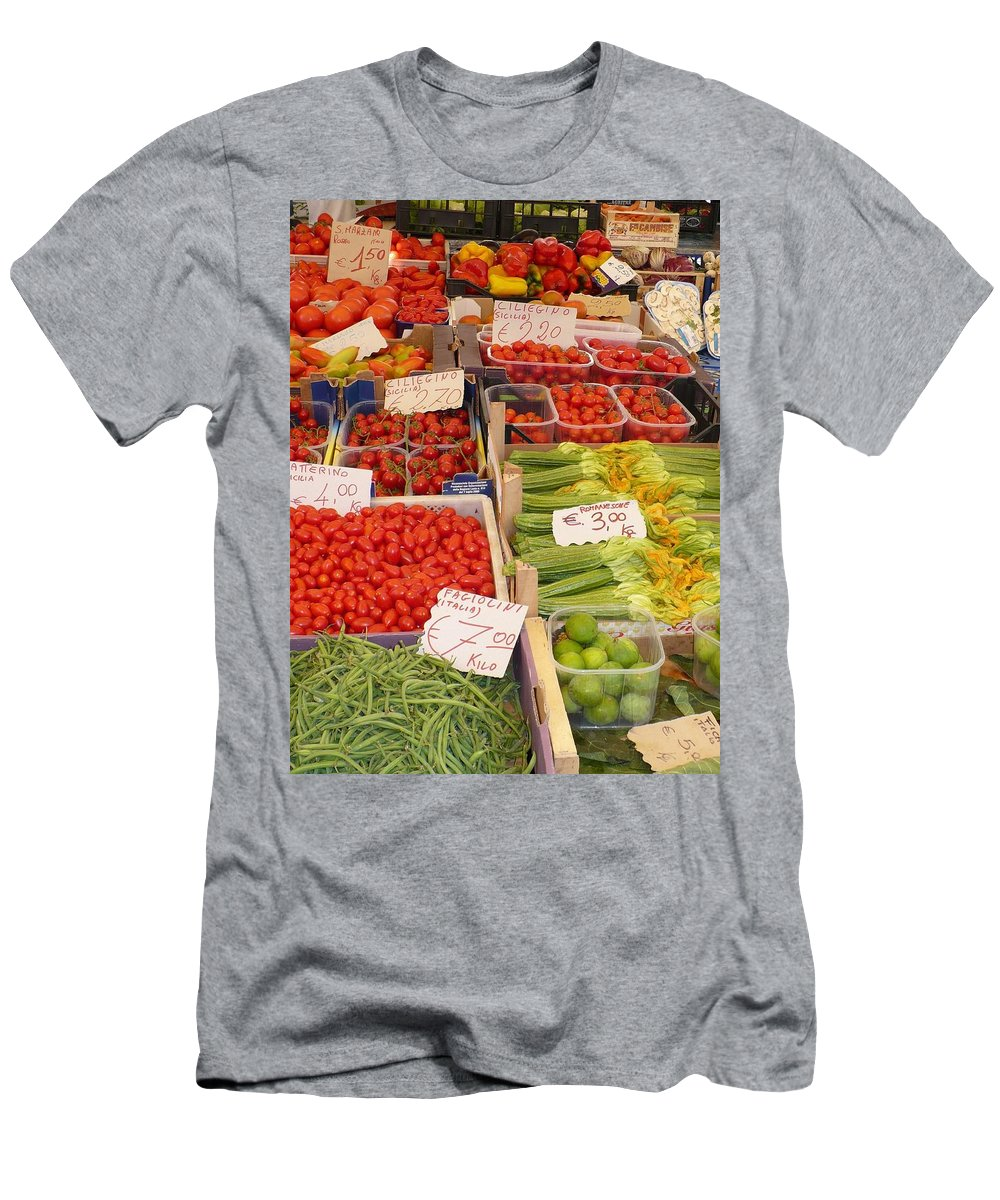 European Markets Men's T-Shirt (Athletic Fit) featuring the photograph Vegetables At Italian Market by Carol Groenen