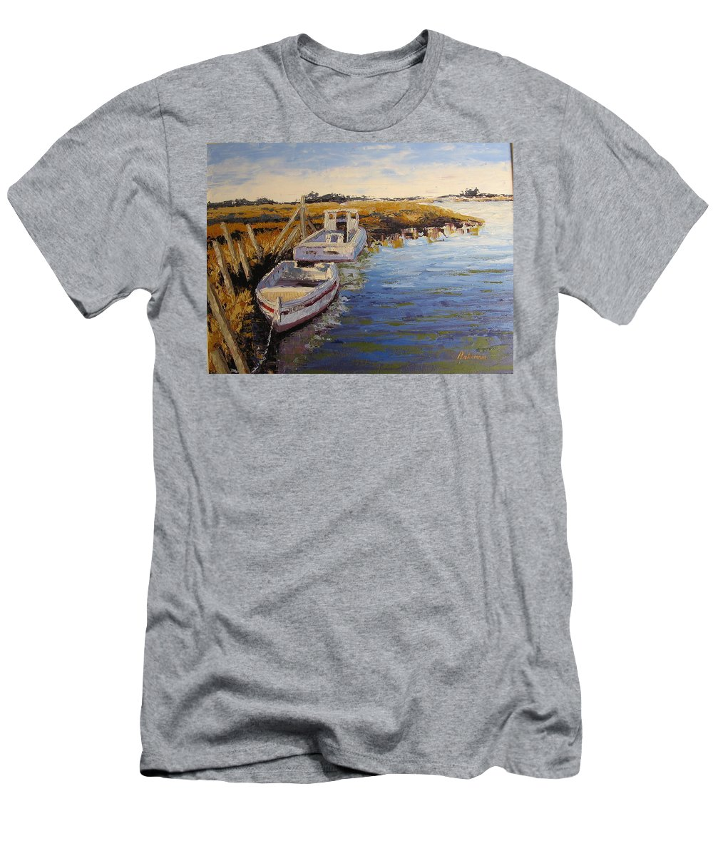 Water Men's T-Shirt (Athletic Fit) featuring the painting Veldrift Boats by Yvonne Ankerman